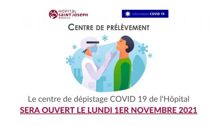 Centre de dépistage ouvert le 1/11/2021